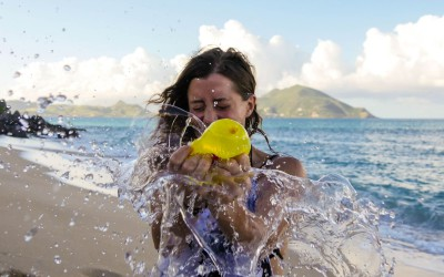 Bursting water balloons on Nevis