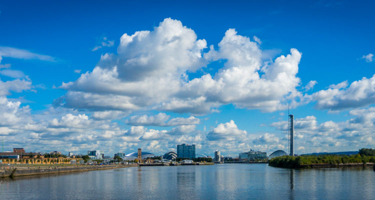 View over the Clyde to Glasgow from the Riverside museum.
